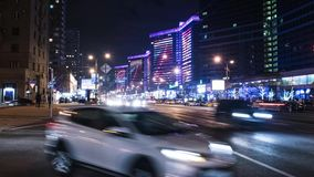 Traffic night scene in Moscow stock video footage