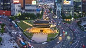 Traffic at Night in Seoul City and Namdaemun Gate,South Korea.Timelapse 4k