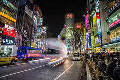 Traffic at Night Shibuya Crossing Royalty Free Stock Photos