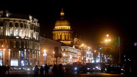 Traffic in the night St. Petersburg, Russia stock footage