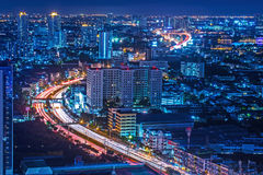 Traffic at night,The top view of Bangkok Stock Photos