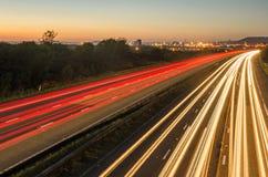 Traffic. Night traffic trails darkness motorway Royalty Free Stock Image
