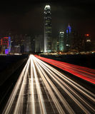 Traffic at night in urban city Stock Images