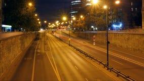 Traffic at night in Warsaw stock video