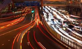 Traffic at nightfall Stock Photography