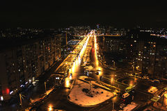 Traffic noise. Night city  roads in st. petersburg Stock Images