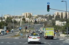 Traffic on Number 01 road in Jerusalem, Israel Stock Photos