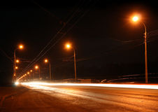 Traffic ob night road Royalty Free Stock Photography