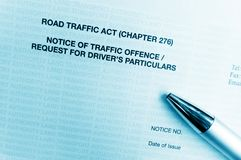 Traffic offence notice letter Royalty Free Stock Photos