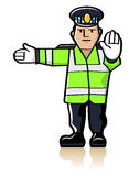 Traffic Officer. Vector traffic policeman in yellow reflective waistcoat making gesture signals to control traffic Royalty Free Stock Photos