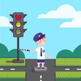 Traffic officer cop kid working on road crossing. With a traffic-light. Modern flat style illustration. Cartoon character clipart Royalty Free Stock Images