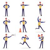 Traffic officer in uniform with high visibility vest set, policeman standing at crossroads and making sign with his. Hands vector Illustrations isolated on a Stock Photo