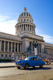 Traffic on Old Havana. Front Capitol, Cuba Royalty Free Stock Image