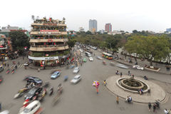 Traffic in the old quarter of Hanoi at sunset in long exposure. View from above. Royalty Free Stock Images