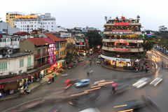 Traffic in the old quarter of Hanoi at sunset in long exposure. View from above. Royalty Free Stock Photos