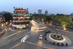 Traffic in the old quarter of Hanoi at sunset in long exposure. View from above. Stock Photo