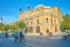 The traffic at old Tehran mosque royalty free stock photography