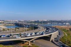 Free Traffic On A Highway Bridge Royalty Free Stock Image - 138732146