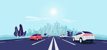 Free Traffic On The Road Perspective Highway Vanishing Point View With City Skyline Stock Image - 166183831