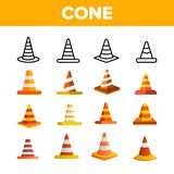 Traffic Orange Cones Vector Color Icons Set stock photography