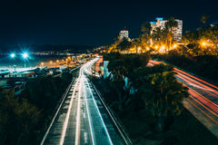 Traffic on Pacific Coast Highway at night  Stock Photography