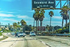 Traffic on Pacific Coast Highway southbound Royalty Free Stock Photos