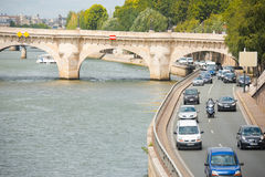Traffic Paris Seine River Road H Royalty Free Stock Image