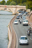 Traffic Paris Seine River Road V Royalty Free Stock Photo