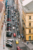 Traffic and parked cars on the Hybernska street in Prague, Czech Royalty Free Stock Photo