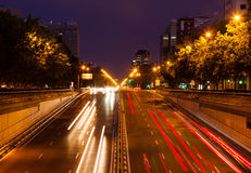Traffic at Paseo de la Castellana in evening.  Madrid Royalty Free Stock Image