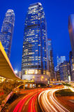 Traffic Passing Through Hong Kong's Business District Stock Images