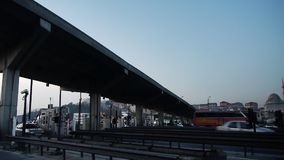 Traffic passing toll booth stock video footage