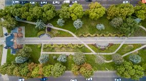 Aerial view from above of the vehicular intersection stock image