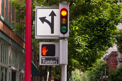 Traffic Pedestrian and Directional Symbols Signals Downtown Stre Royalty Free Stock Photo