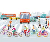 Traffic and pedestrians in city illustration Stock Photography