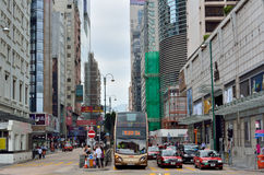 Traffic and people in Hongkong commercial center Royalty Free Stock Photography