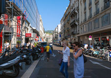 Traffic of people on the streets bright Nice, Azure coast in Fra Royalty Free Stock Photo