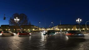 Traffic in Piazza Vittorio, the centre of Torino, Italy. Torino, Italy - September 9, 2012: Traffic in Piazza Vittorio, the centre of Torino, Italy, night of stock video footage