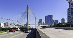 Traffic in Pinheiros Avenue in Sao Paulo, Brazil Royalty Free Stock Images