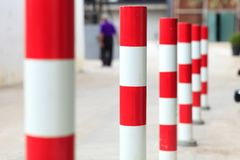 Traffic Pole. Orange traffic reflective bollards Royalty Free Stock Image