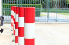 Traffic Pole. Orange traffic reflective bollards Stock Image