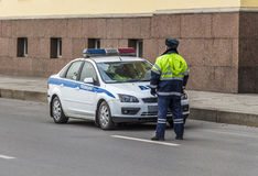 Traffic police on duty on the streets Royalty Free Stock Images
