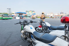 Traffic police on duty on Tet, Vietnam Stock Photo