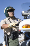 Traffic Police Riding Bike Stock Photo