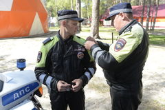 Traffic Police Work. Russia. June 2016 Stock Photo