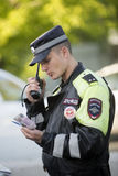 Traffic Police Work. Russia. June 2016 Royalty Free Stock Images