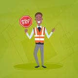 Traffic Policeman Guard Holding Stop Road Sign Royalty Free Stock Photo
