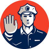 Traffic Policeman Hand Stop Sign Circle Retro Stock Images