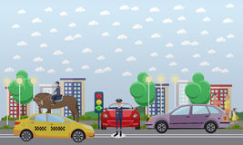 Traffic policeman and mounted police, vector flat illustration Royalty Free Stock Image
