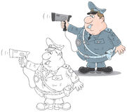 Traffic policeman with a radar. Fat traffic officer holding an autoradar for speed control Royalty Free Stock Photography